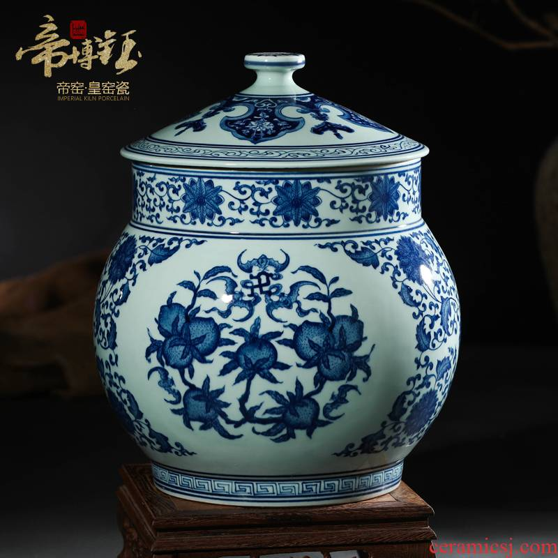 Antique hand - made porcelain of jingdezhen ceramics five blessings puer tea cake storage tank caddy fixings decorative furnishing articles
