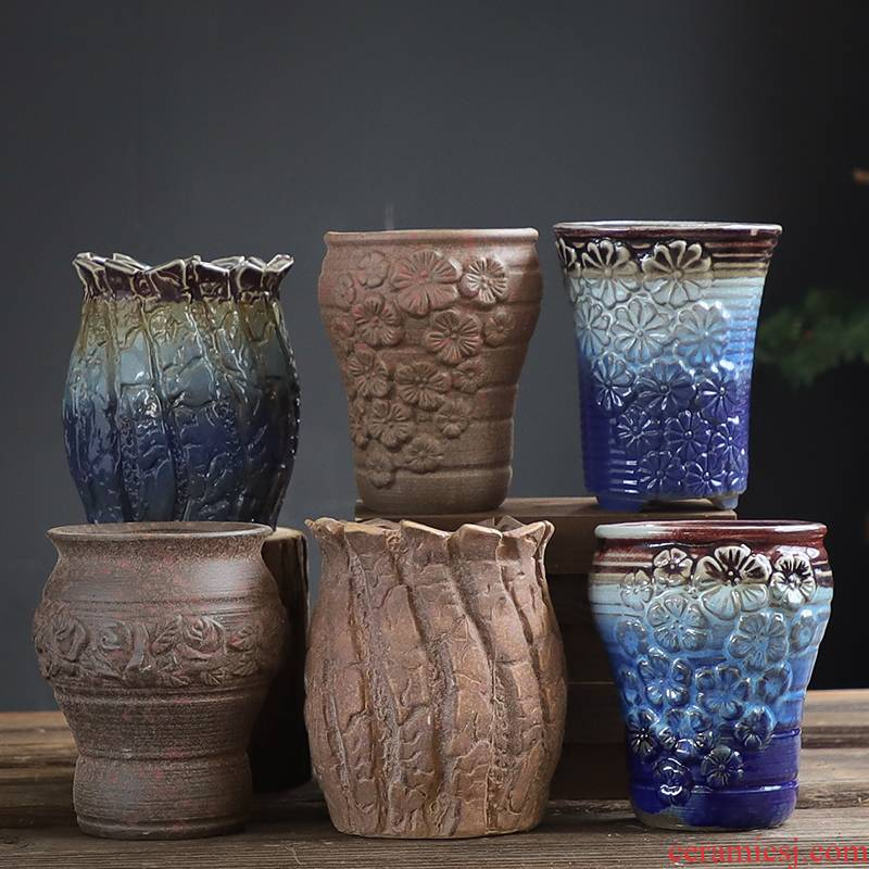 Old running the flowerpot ceramic flowerpot more meat wholesale special creative mage high Lao - zhuang coarse pottery flowerpot pack mail to move