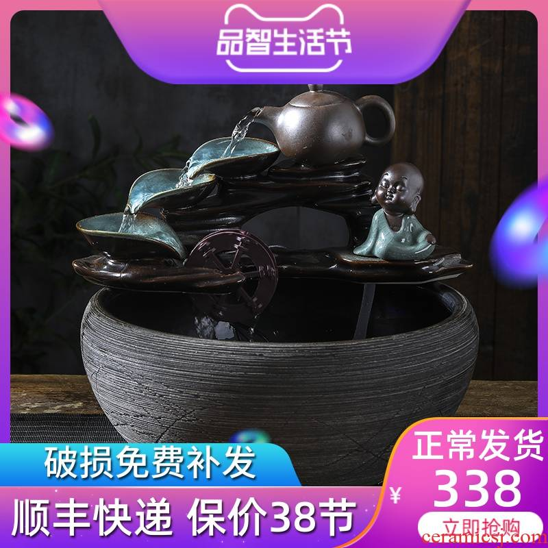 The Desktop Chinese place feng shui water wheel fortune ceramic aquarium fountain in the sitting room humidifier automatic cycle