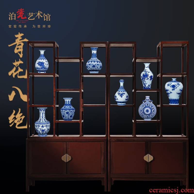 Jia lage jingdezhen blue and white porcelain ceramics hand - made the sitting room of Chinese style household decorations crafts are arranging flowers
