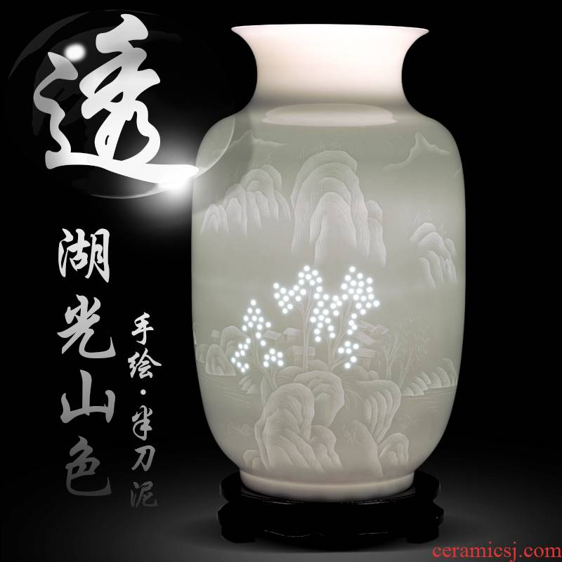 Jingdezhen ceramic landscape hand - made knife clay its vases, flower arrangement of Chinese style home sitting room adornment is placed