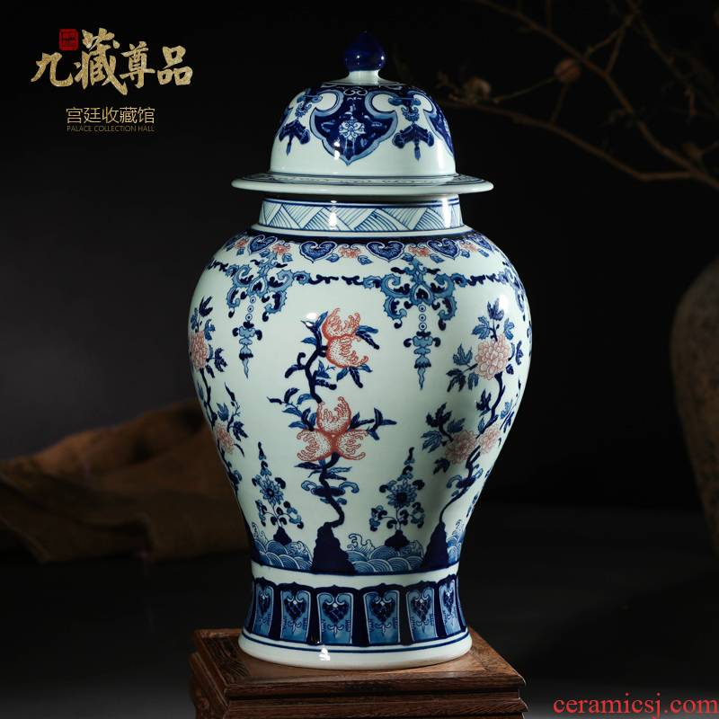 Jingdezhen ceramics furnishing articles antique hand - made youligong general canister vase sitting room of Chinese style household decoration