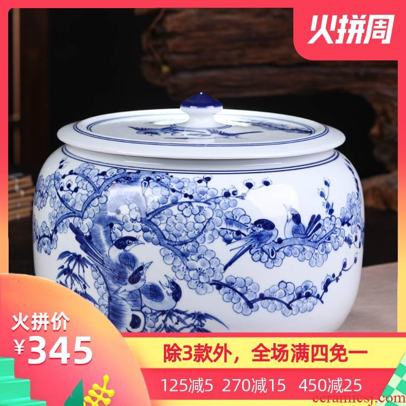 Jingdezhen ceramics pu 'er tea packaging gift box the tea pot home tea cake pot seal storage tank