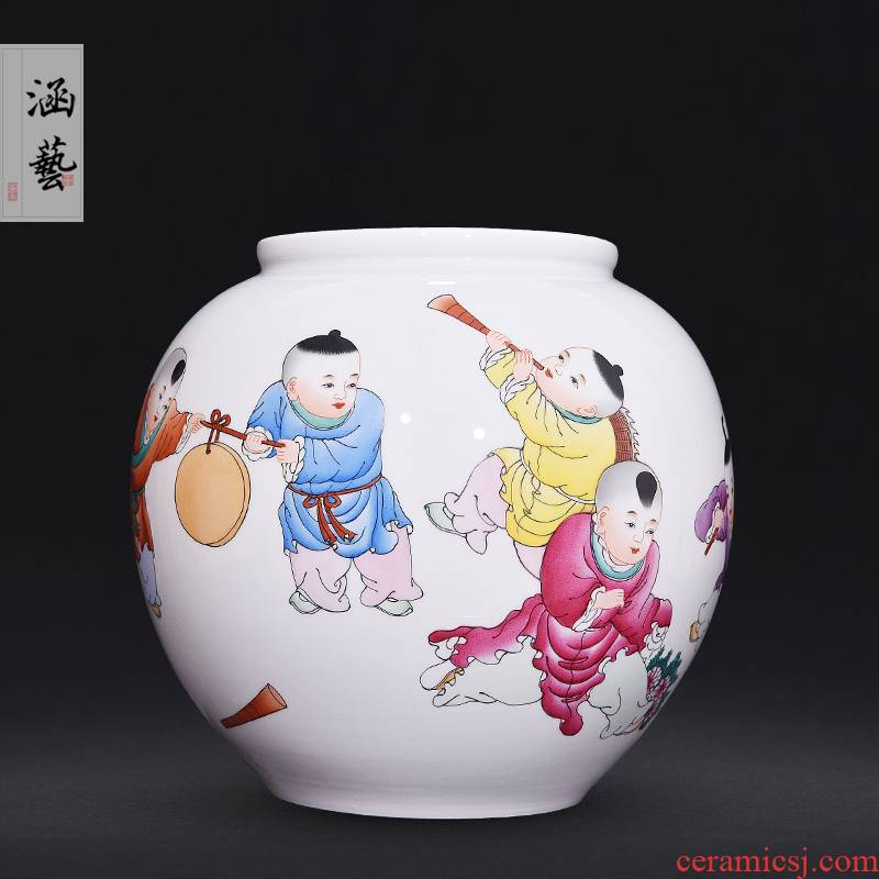 Jingdezhen ceramic hand - made baby play JiXiangFu tube of new Chinese style flower arrangement sitting room decoration as furnishing articles craft gift