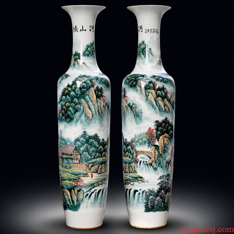 Jingdezhen ceramic vase hand - made color kumsusan river home sitting room adornment shop floor furnishing articles