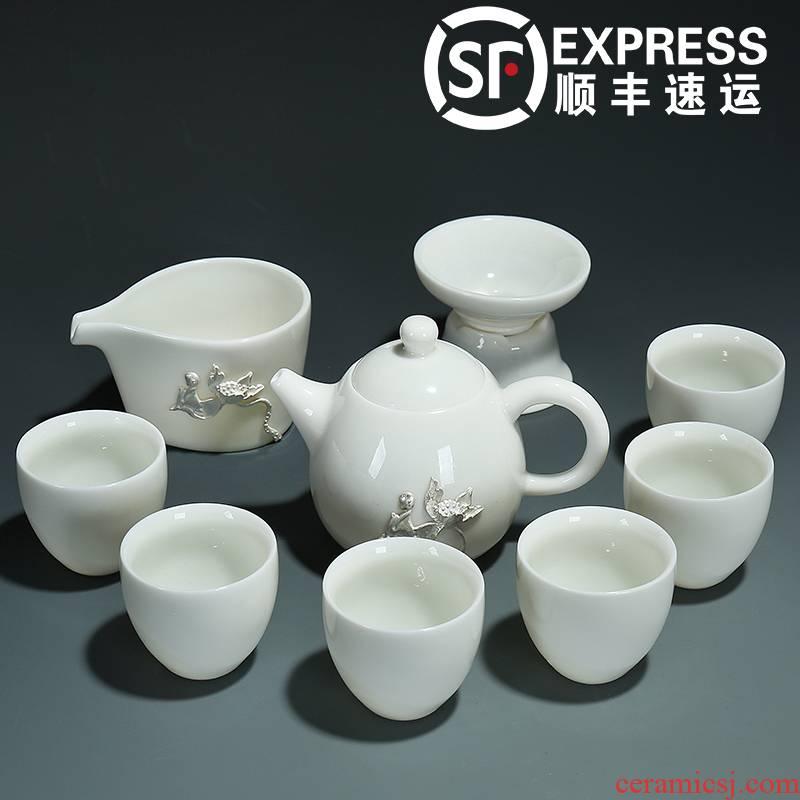 Frozen jade porcelain kung fu tea set a complete set of dehua white porcelain household coppering. As silver lid bowl sample tea cup set
