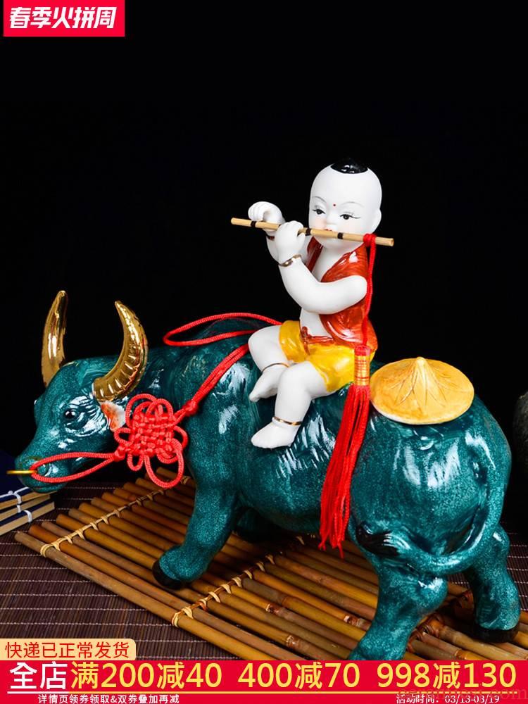 Cb67 jingdezhen ceramics cowboy ride to classical art furnishing articles home porch sitting room adornment handicraft