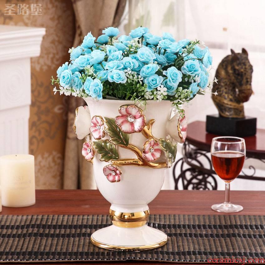 Fort SAN road vase furnishing articles European style living room TV cabinet ceramic color gold vase simulation flower vase ornament