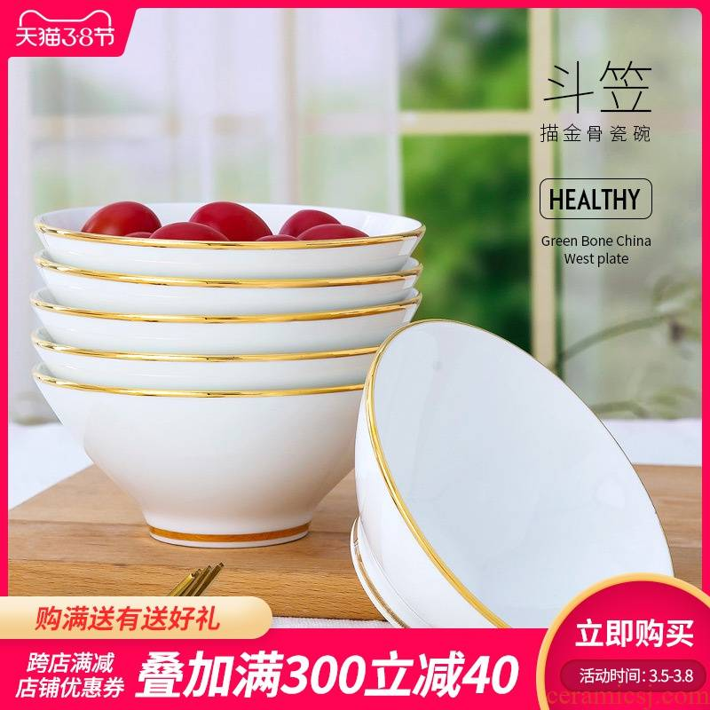 The Is rhyme of jingdezhen ceramic bowl household ipads porcelain contracted the new Chinese style eat rice bowl up phnom penh hat to bowl