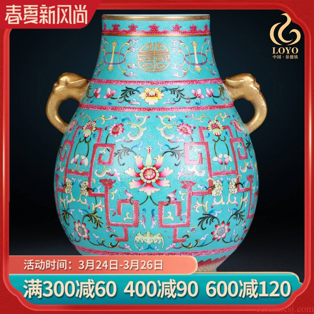 Jingdezhen ceramics vase imitation the qing qianlong blue scramble for flower pattern f barrels statute of Chinese style household decorations