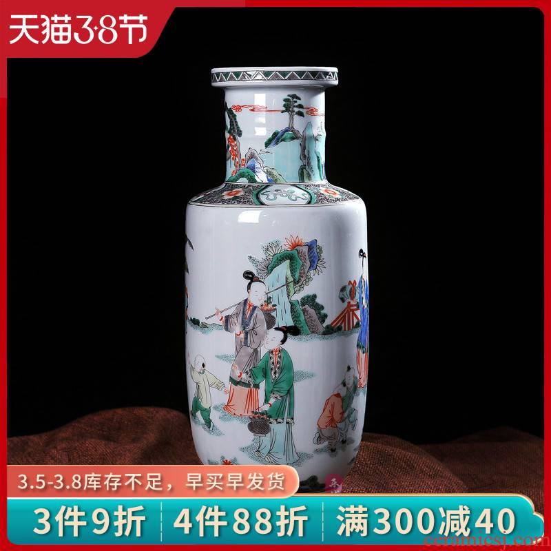 Archaize of jingdezhen porcelain enamel figures show ceramic vase household fashionable sitting room process decorative furnishing articles