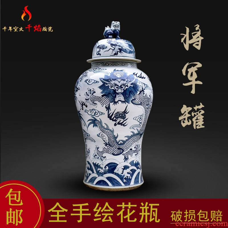 Jingdezhen blue and white dragon ceramics large storage tank general tank sitting room TV ark, archaize rich ancient frame furnishing articles