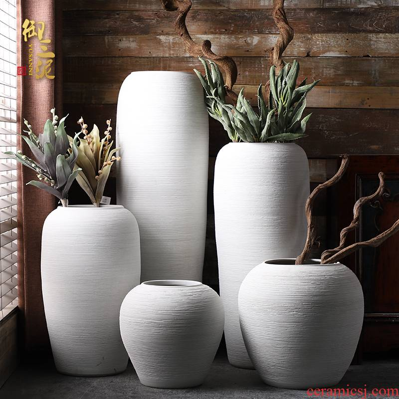 Jingdezhen ceramic large vases, flower arrangement sitting room place I and contracted white checking pottery landing big flower pot