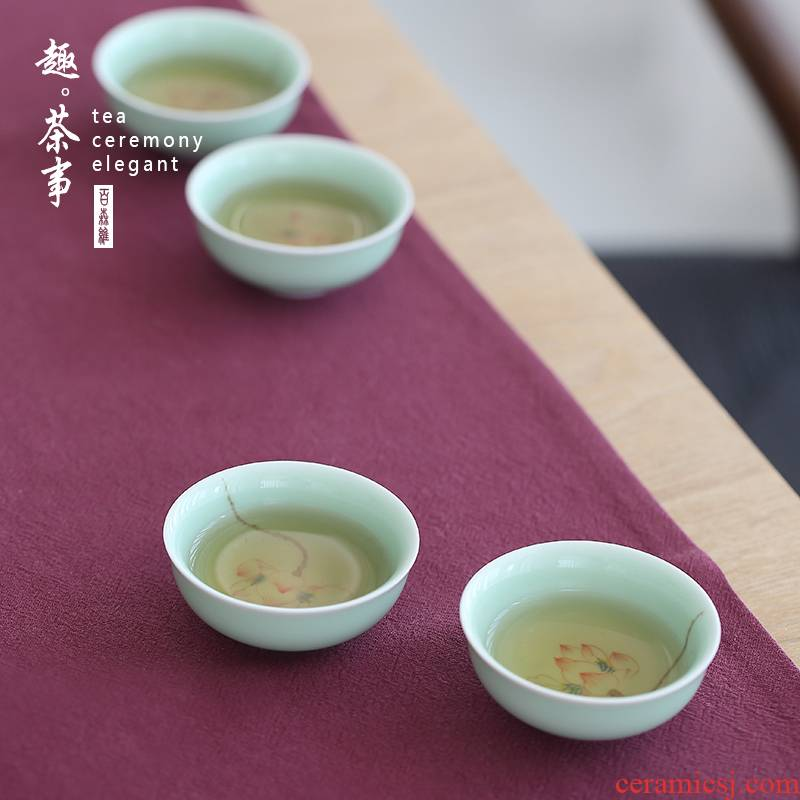 Babson d manual hand - made MeiQing sample tea cup noggin household ceramics cup master CPU use tea set