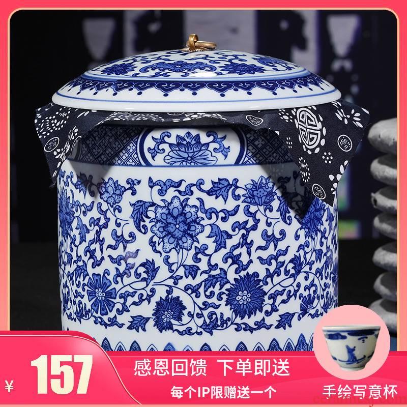 Jingdezhen porcelain seven loaves ceramic pot large tea cake box receives general tea barrel tea storage tanks