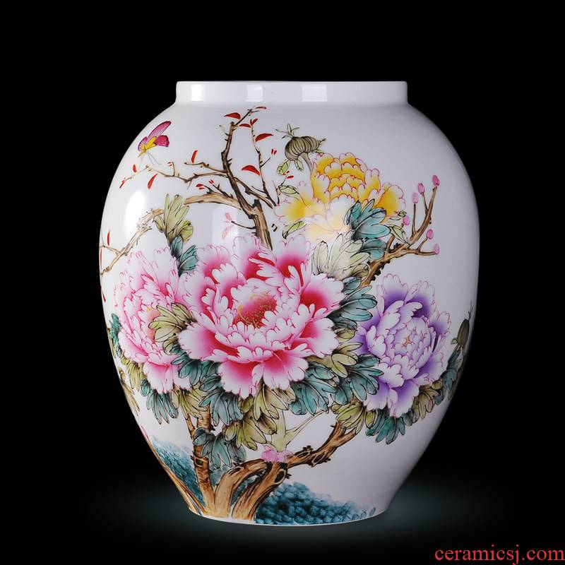 Jingdezhen ceramics Xiong Guiying hand made pink butterfly vase peony modern decorative crafts