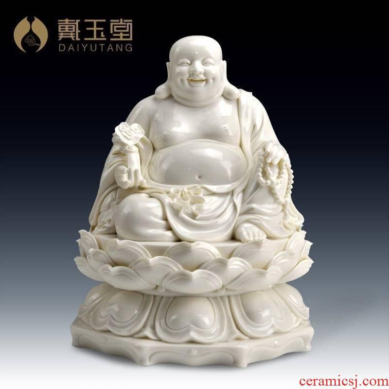 Yutang dai dehua white porcelain pot - bellied laughing Buddha statute furnishing articles/by GuLian ruyi maitreya D01-033