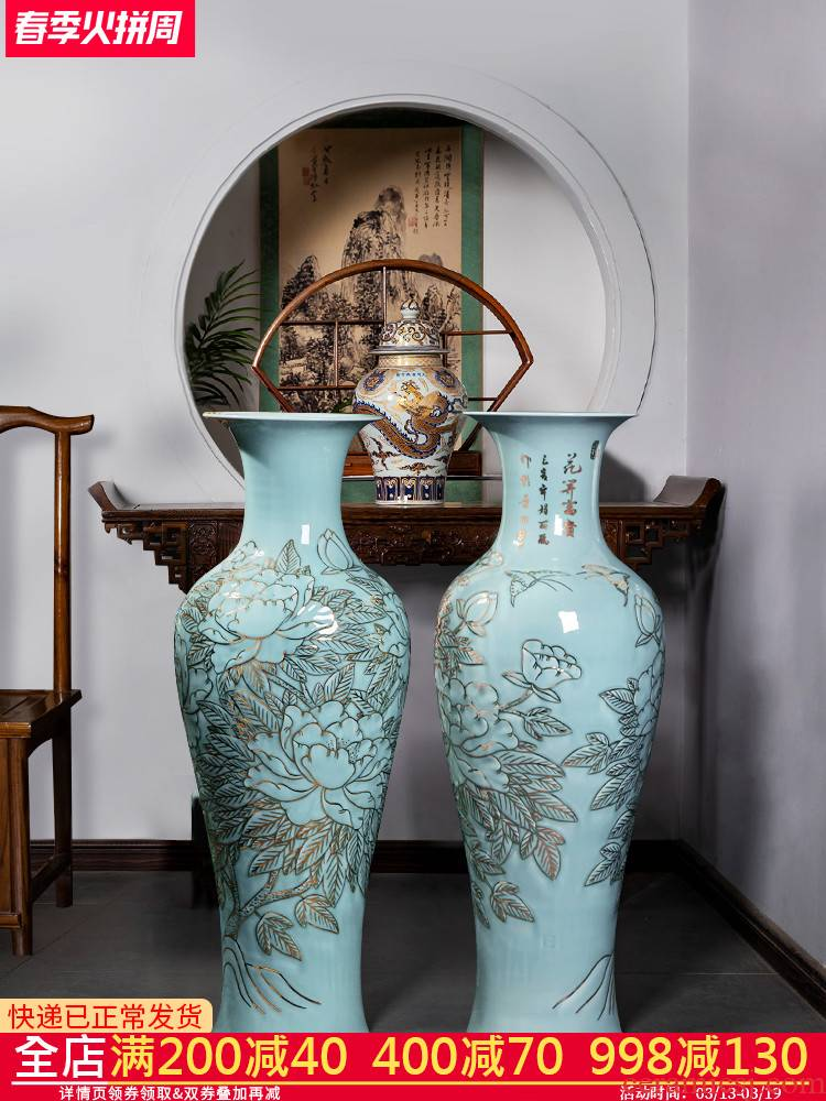 Jingdezhen ceramics hand - made paint large vases, new Chinese style hotel TV ark place, a large living room