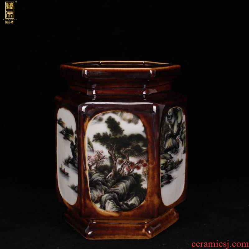 "Jingdezhen copy end of qianlong style antique vintage boutique landscape the six - party brush pot ""four desk place, Chinese style restoring ancient ways"