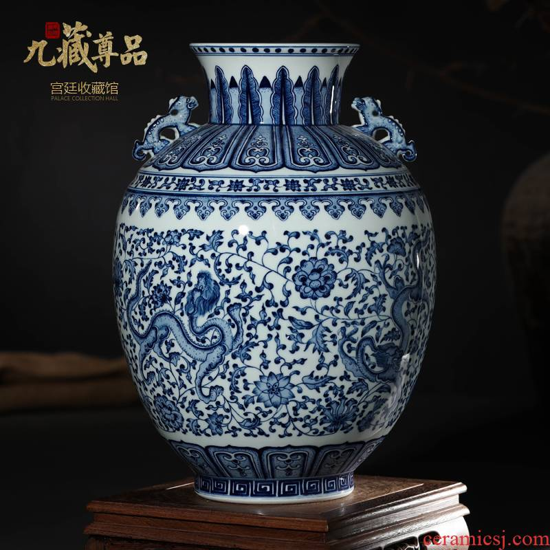 Jingdezhen ceramics imitation the qing qianlong blue - and - white hand - made bound lotus flower dragon vase furnishing articles of the new Chinese style sitting room adornment