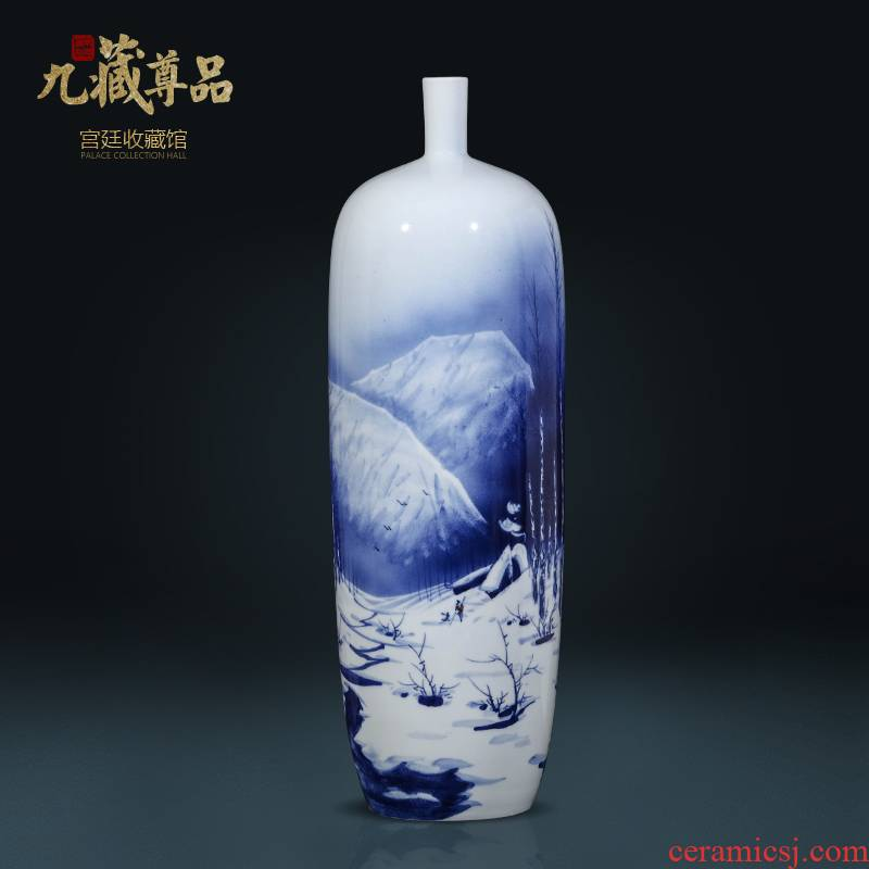 Jingdezhen ceramics famous hand - made snow of blue and white porcelain vase household living room TV cabinet decorative furnishing articles arranging flowers