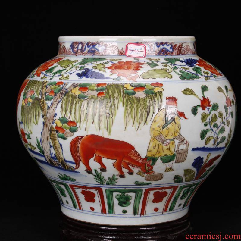 Jingdezhen antique reproduction antique pure checking bucket color colorful Samson chow old story of the big pot after furnishing articles