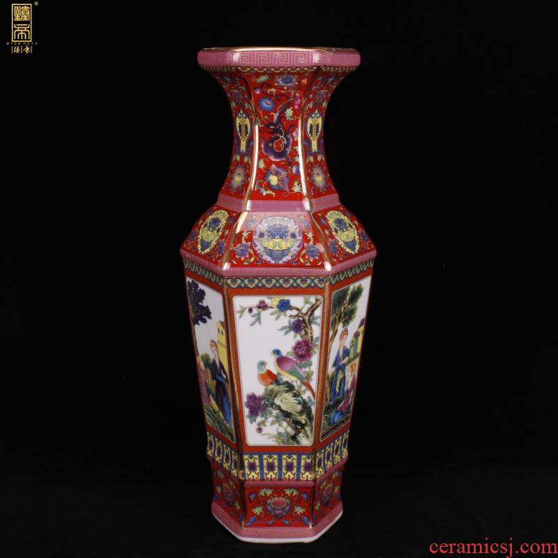 Chinese style classical imitation qianlong antique colored enamel porcelain vase home sitting room ark, furnishing articles of TV bar face