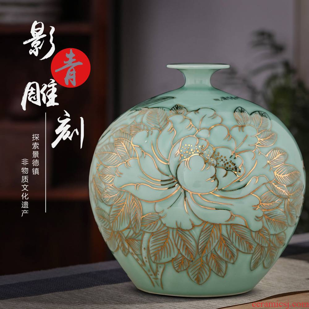 Jingdezhen ceramic vases, flower arranging is hand - made shadow blue paint peony pomegranate bottles of Chinese style sitting room adornment is placed