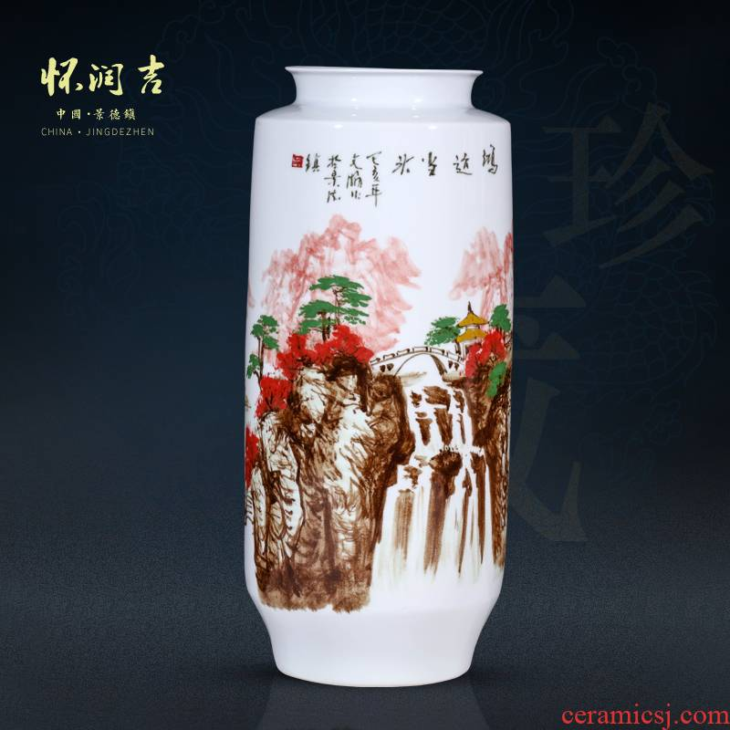 Jingdezhen ceramic vase much luck hand - made a master of landscape painting vases, Chinese residential sitting room porch furnishing articles