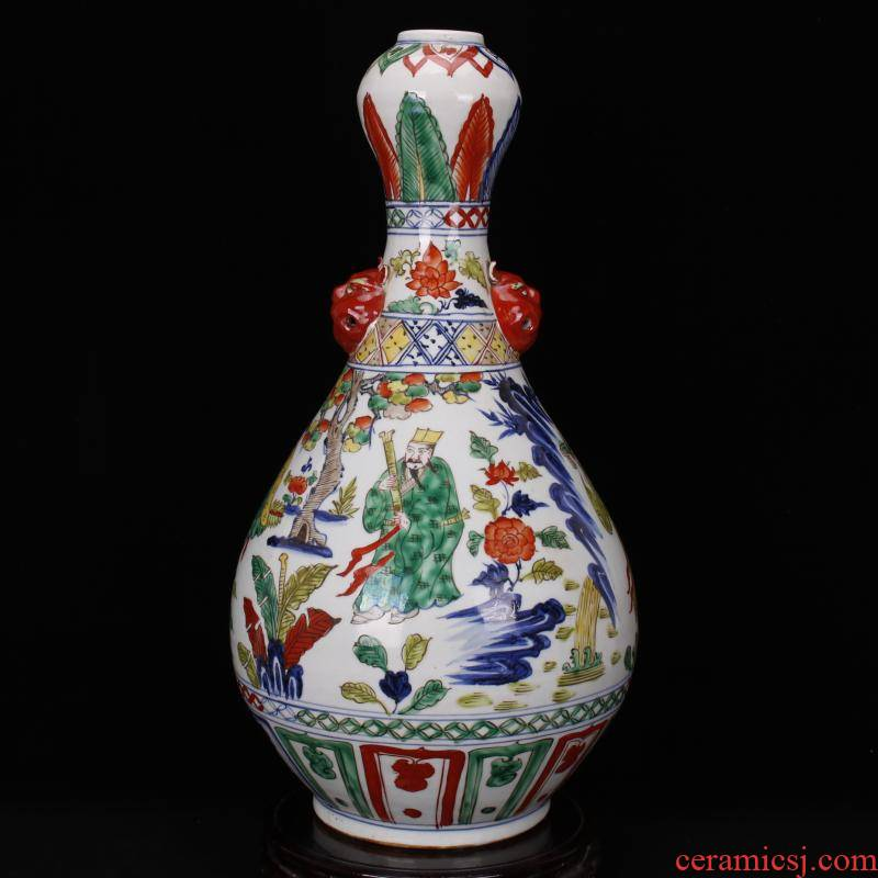 Jingdezhen RMB imitation antique curios colorful eight immortals character lines garlic bottles of vintage ceramic decoration old collections