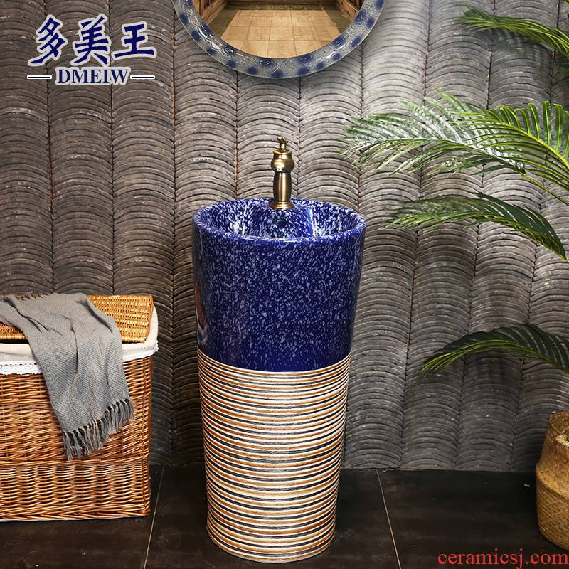 What king of blue glaze pillar basin archaize floor type restoring ancient ways the sink basin ceramic column type lavatory