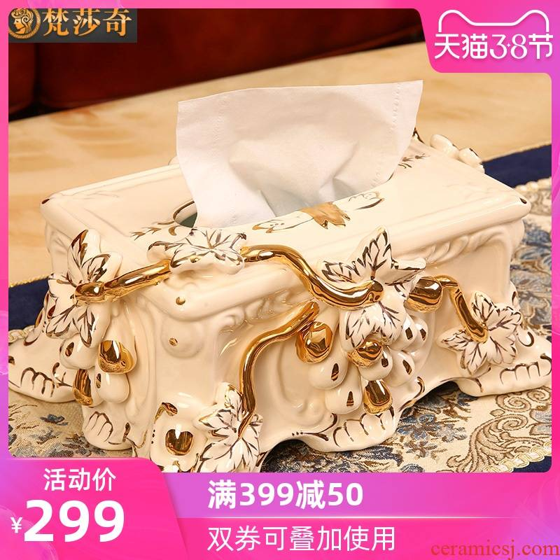 Vatican Sally 's ceramic tissue box key-2 luxury European - style household smoke box sitting room tea table decorations furnishing articles wedding gift