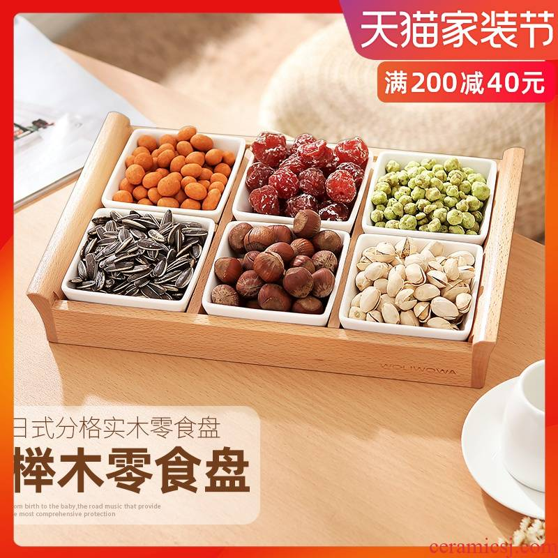 Creative snack plate frame ceramic compote candy dishes dry fruit bowl of fruit snacks disc nut plate snack dishes
