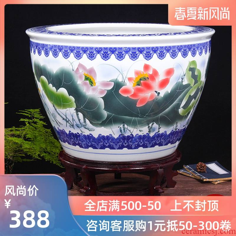 Jingdezhen ceramic aquarium turtle cylinder basin of water lily lotus goldfish bowl sitting room king fish bowl lotus cylinder