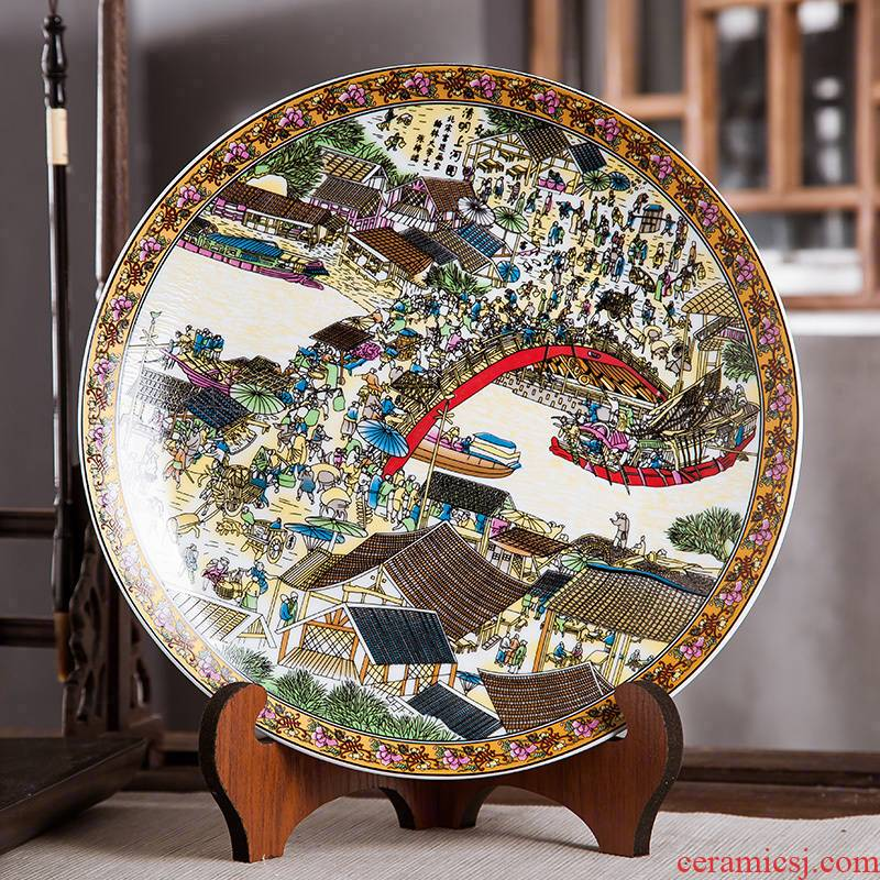 Jingdezhen ceramics furnishing articles home decorations hanging dish handicraft wine clear painting decorative plate