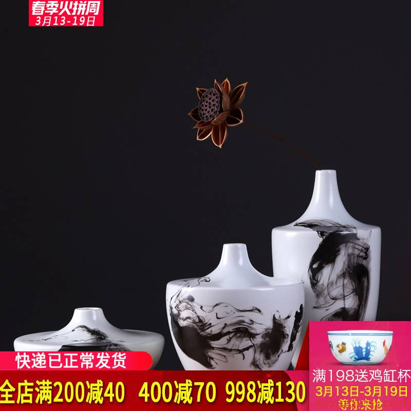 Jingdezhen ceramics modern new Chinese style Chinese ink painting wind three - piece archaize sitting room place zen vase