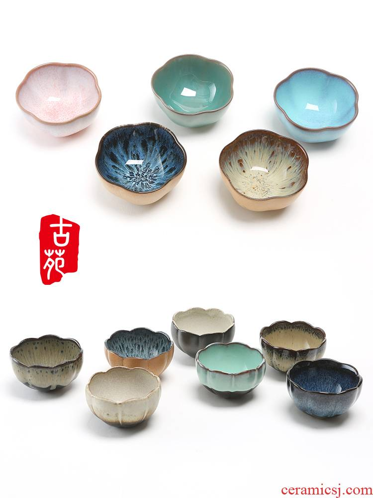 Ancient garden ceramics thin glass cherry name plum blossom put lotus Japanese pottery small teacup built red glaze, the single cup sample tea cup