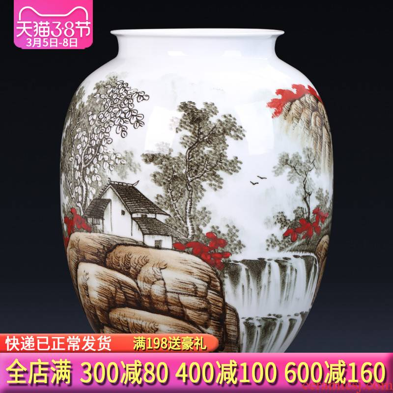 Jingdezhen ceramics hand - made the master of landscape painting large vases, flower arranging new Chinese style porch decoration furnishing articles
