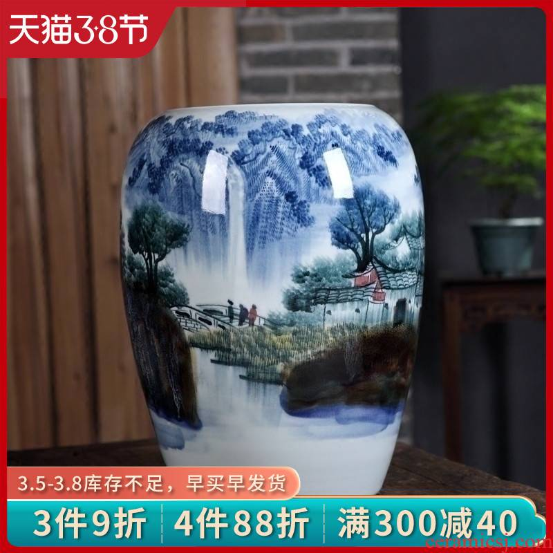 Jingdezhen ceramics vase furnishing articles by hand - made up with landscape picture tube of new Chinese style porch decoration