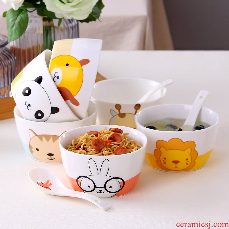 Express cartoon dishes suit creative ceramic tableware dish bowl meal household contracted 6 4 Korean combination