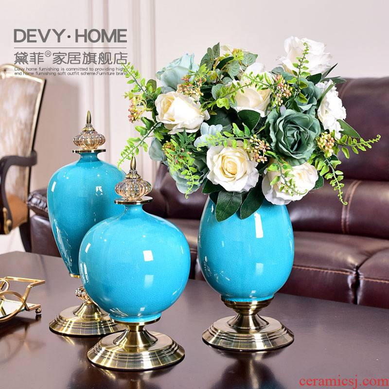 European ceramic vase wine TV ark, furnishing articles sitting room porch table dry flower simulation flowers flower arrangement American act the role ofing is tasted