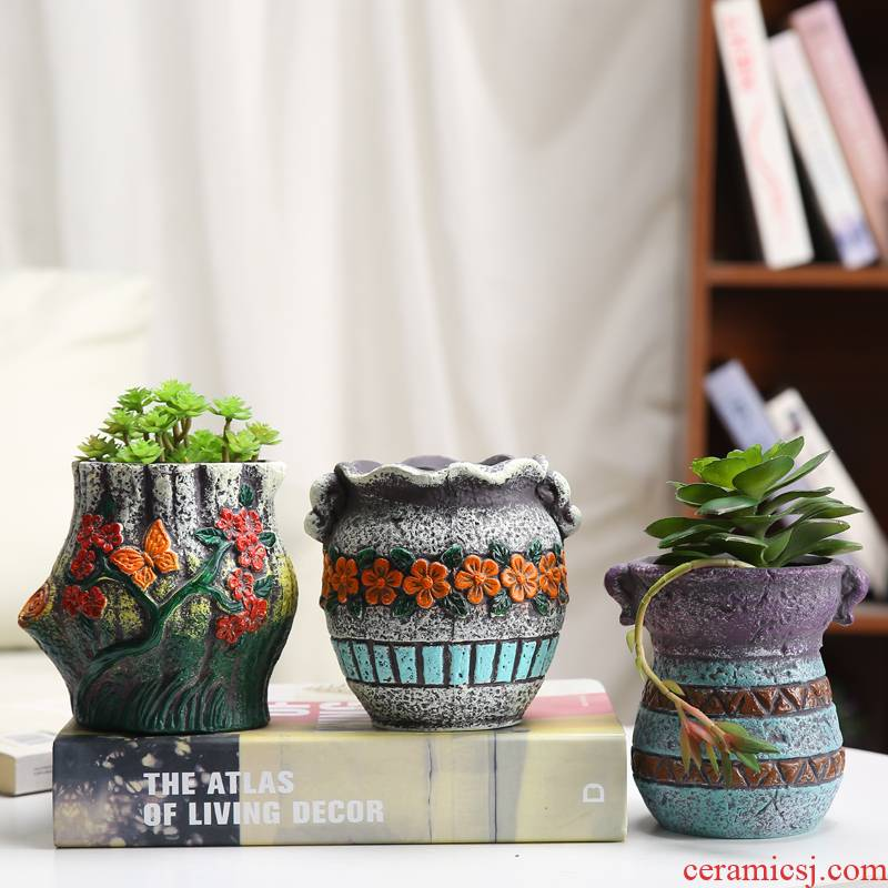 Fleshy green plant ceramic flower pot European contracted move potted flower implement small old running the high ceramic flower pot with old basin