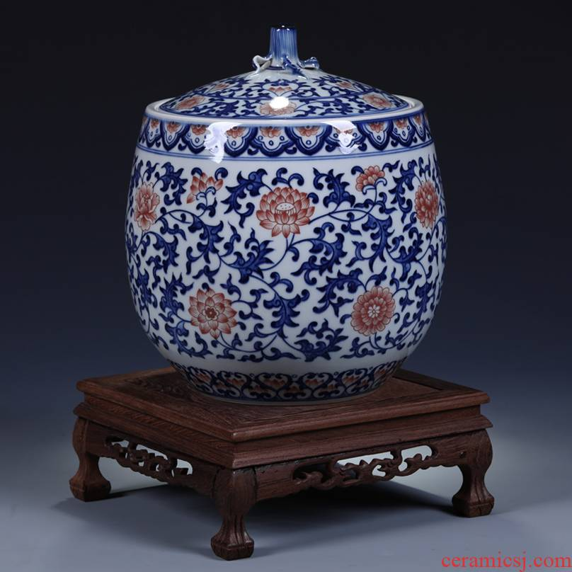 Antique hand - made porcelain of jingdezhen ceramics youligong cover pot of Chinese style living room porch storage tank decorative furnishing articles