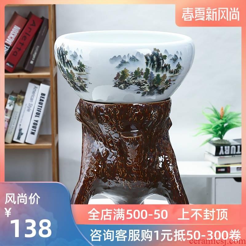 Jingdezhen ceramic aquarium raising goldfish bowl sitting room place bowl lotus lotus cylinder cylinder creative water GangPen tortoise
