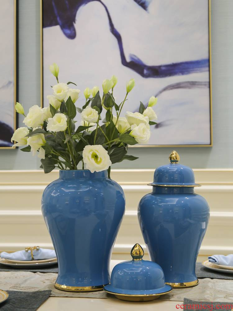 Jingdezhen new Chinese style is contracted, general tank mesa gold - plated vase ceramic restaurant TV ark, furnishing articles hydroponic flowers