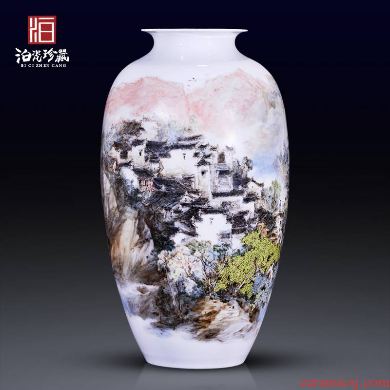Jingdezhen ceramics hand - made scenery somebody else decorative vase rich ancient frame of new Chinese style household furnishing articles sitting room collection