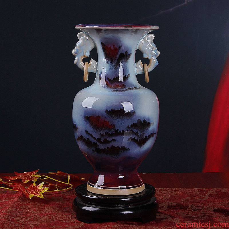 Jingdezhen floret bottle ceramic antique jun porcelain ear vase rich ancient frame China new Chinese style is classic the living room