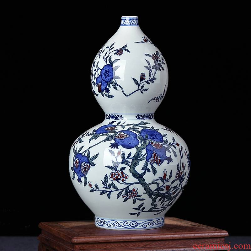 Jingdezhen ceramic vases, antique hand - made porcelain up gourd Chinese style living room TV cabinet decorative furnishing articles arranging flowers