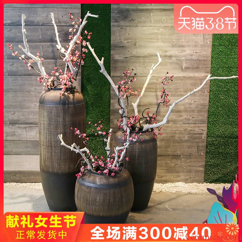 Coarse pottery restoring ancient ways is big flower implement hotel floor clay ceramic simulation flower vase sitting room adornment furnishing articles suit