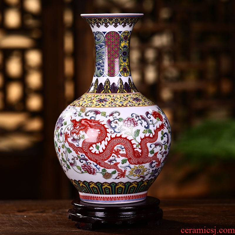 Dragons and phoenixes vase Chinese jingdezhen ceramics sitting room adornment flower arranging famille rose porcelain furnishing articles furnishing articles antique frame
